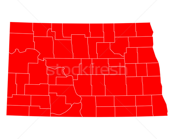 Kaart North Dakota Rood USA vector geïsoleerd Stockfoto © rbiedermann