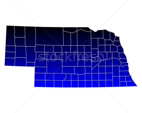 Mappa Nebraska blu viaggio USA isolato Foto d'archivio © rbiedermann
