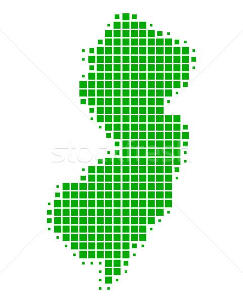 Сток-фото: карта · Нью-Джерси · зеленый · шаблон · Америки · квадратный
