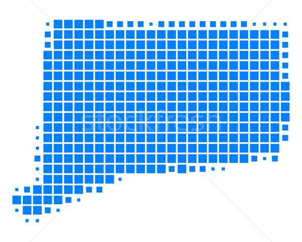 Mapa Connecticut azul padrão EUA praça Foto stock © rbiedermann