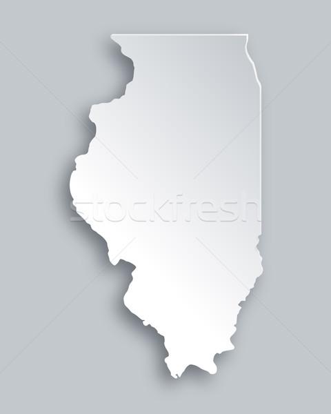 Harita Illinois kâğıt arka plan seyahat kart Stok fotoğraf © rbiedermann