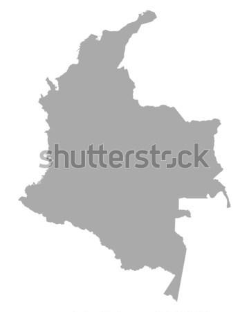 Harita Kolombiya seyahat vektör yalıtılmış gri Stok fotoğraf © rbiedermann