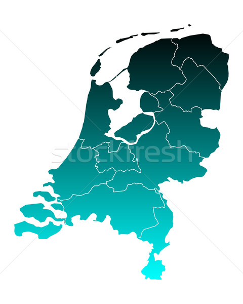 Stock fotó: Térkép · Hollandia · zöld · kék · utazás · keret