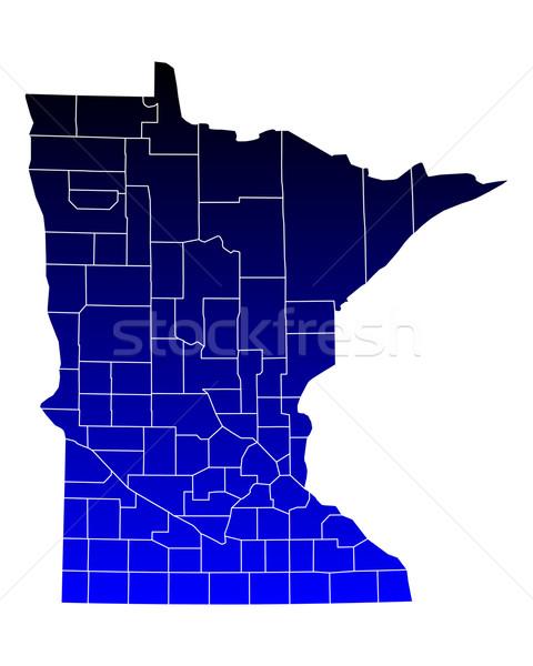 Mapa Minnesota azul viajar EUA isolado Foto stock © rbiedermann