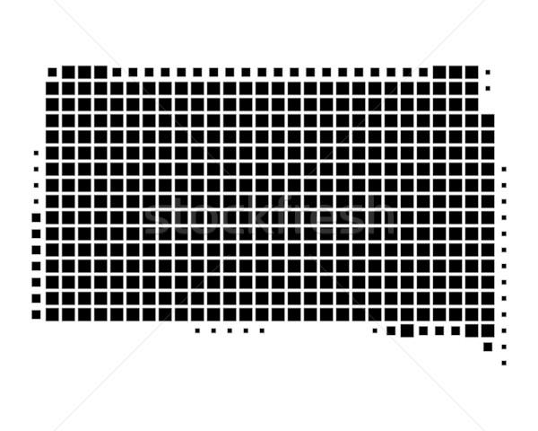 Kaart South Dakota zwarte patroon amerika vierkante Stockfoto © rbiedermann