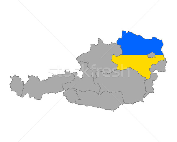 Map of Austria with flag of Lower Austria Stock photo © rbiedermann