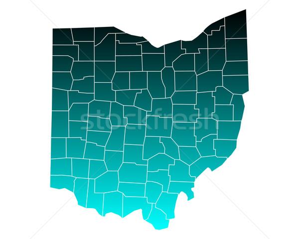 Mapa Ohio verde azul viajar EUA Foto stock © rbiedermann
