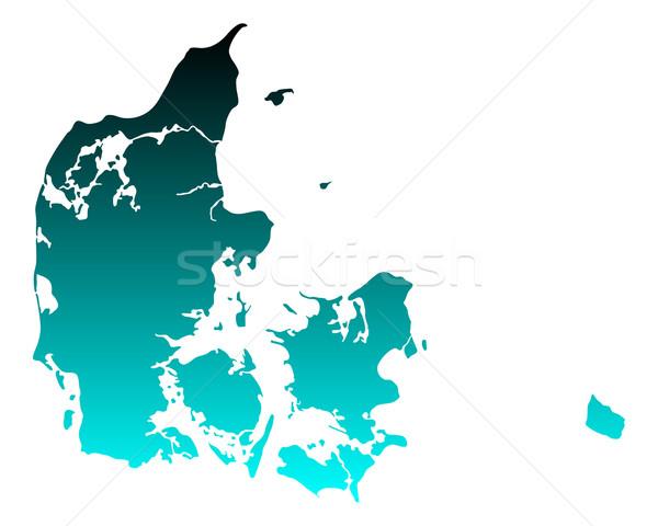 Mapa Dinamarca verde azul viajar vetor Foto stock © rbiedermann