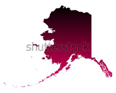 Carte Alaska Voyage Amérique pourpre isolé Photo stock © rbiedermann