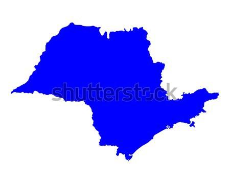 Térkép Sao Paulo kék vektor izolált illusztráció Stock fotó © rbiedermann