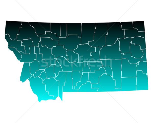 карта Монтана зеленый синий путешествия США Сток-фото © rbiedermann