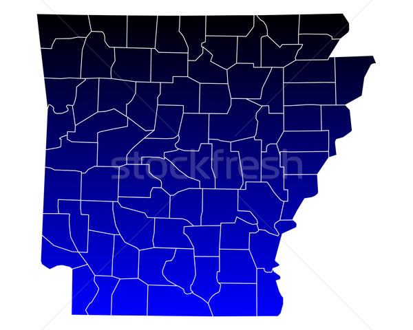 Kaart Arkansas Blauw reizen USA geïsoleerd Stockfoto © rbiedermann