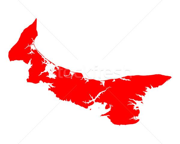 Mapa isla del príncipe eduardo rojo isla vector aislado Foto stock © rbiedermann
