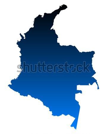 карта Колумбия фон синий линия вектора Сток-фото © rbiedermann