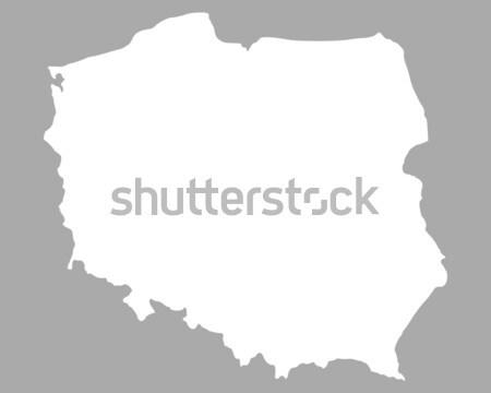 Térkép Lengyelország háttér fehér vonal Stock fotó © rbiedermann