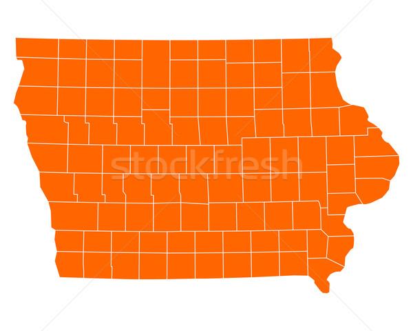 Térkép Iowa utazás USA izolált illusztráció Stock fotó © rbiedermann
