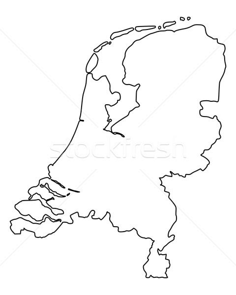Mappa Paesi Bassi Holland vettore isolato grigio Foto d'archivio © rbiedermann