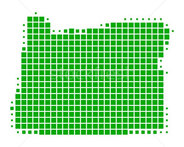 Сток-фото: карта · Орегон · зеленый · шаблон · Америки · квадратный