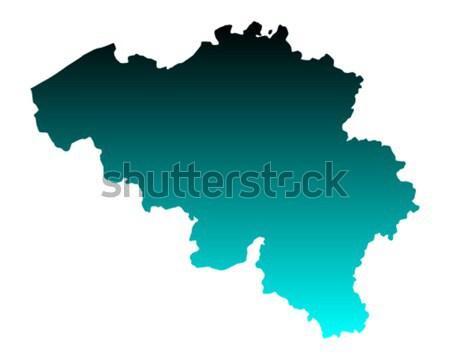 Harita Belçika yeşil seyahat vektör Stok fotoğraf © rbiedermann