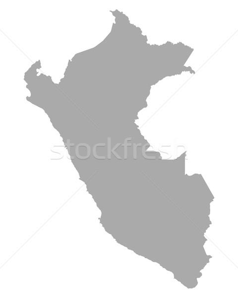 Kaart Peru vector geïsoleerd illustratie grijs Stockfoto © rbiedermann