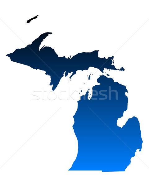 Mapa Michigan azul viaje América EUA Foto stock © rbiedermann