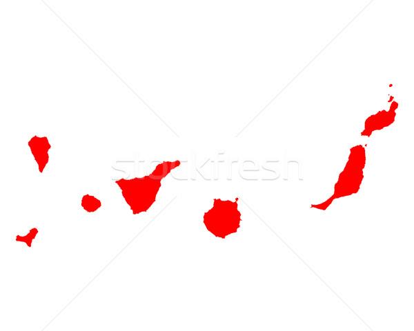 Mapa canárias vermelho linha vetor Espanha Foto stock © rbiedermann