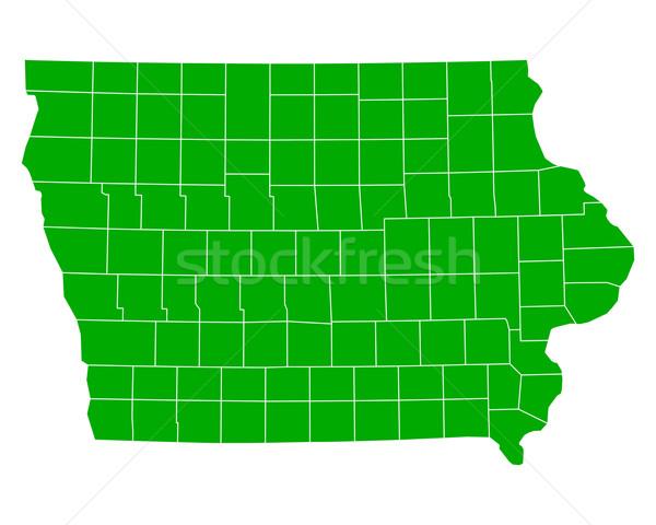 Térkép Iowa háttér zöld vonal vektor Stock fotó © rbiedermann