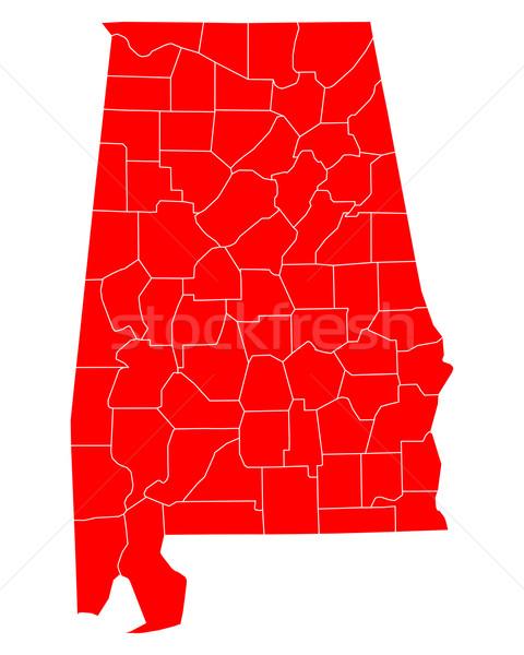Harita Alabama seyahat kırmızı ABD yalıtılmış Stok fotoğraf © rbiedermann
