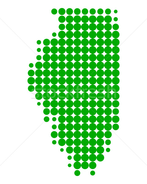 Stok fotoğraf: Harita · Illinois · yeşil · model · Amerika · daire