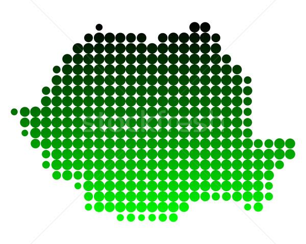 Kaart Roemenië groene patroon cirkel punt Stockfoto © rbiedermann