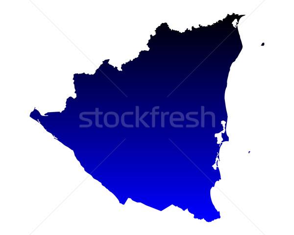 Térkép Nicaragua kék utazás vektor Stock fotó © rbiedermann