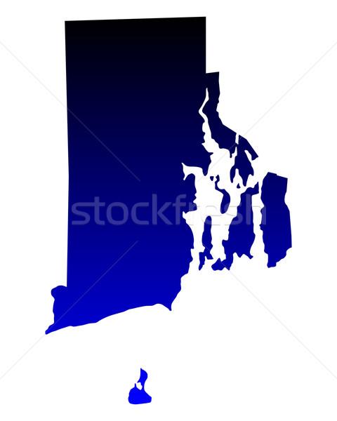 Stok fotoğraf: Harita · Rhode · Island · mavi · seyahat · Amerika · ABD