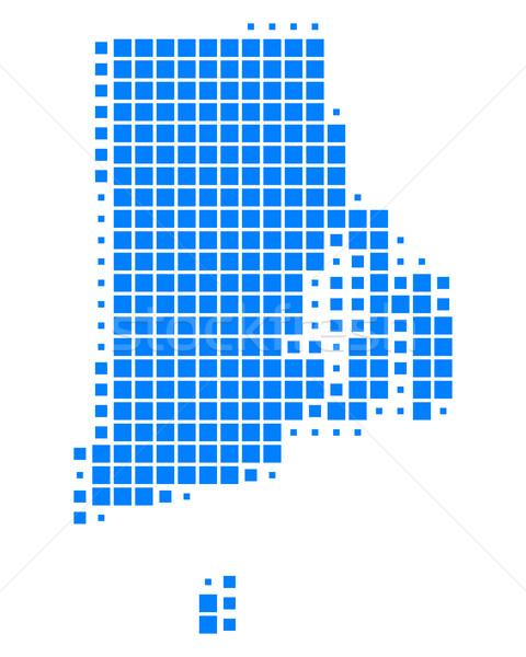 Stok fotoğraf: Harita · Rhode · Island · mavi · model · ABD · kare