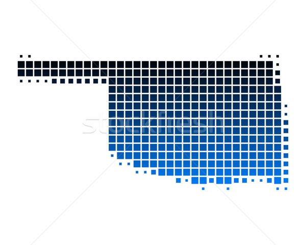 Kaart Oklahoma Blauw patroon amerika vierkante Stockfoto © rbiedermann