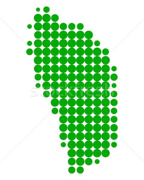 Kaart Dominica groene patroon cirkel caribbean Stockfoto © rbiedermann