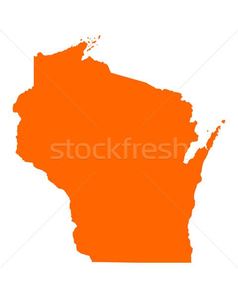 Stok fotoğraf: Harita · Wisconsin · seyahat · Amerika · ABD · yalıtılmış