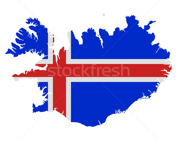 Map and flag of Iceland Stock photo © rbiedermann