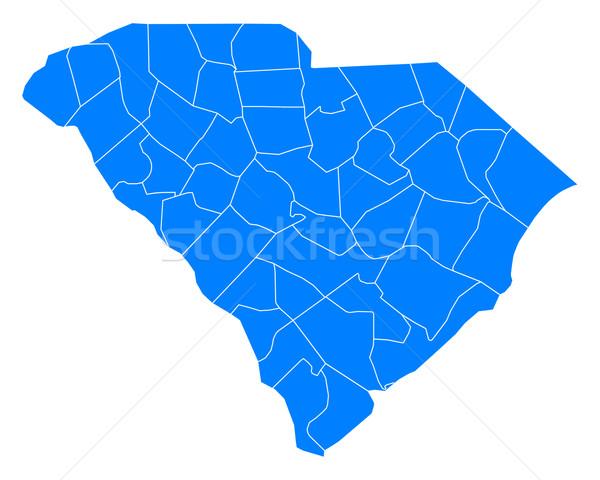 Kaart South Carolina Blauw USA vector geïsoleerd Stockfoto © rbiedermann