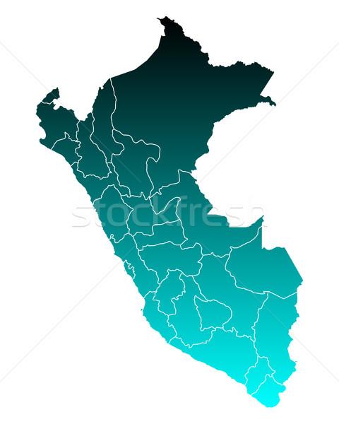 Mapa verde azul vetor isolado ilustração Foto stock © rbiedermann
