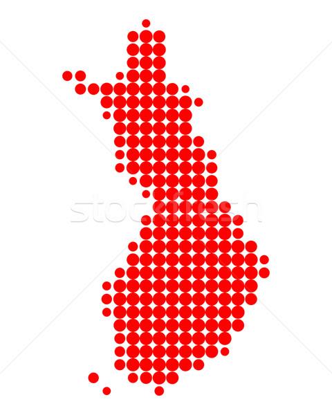 Mapa Finlândia vermelho padrão círculo ponto Foto stock © rbiedermann