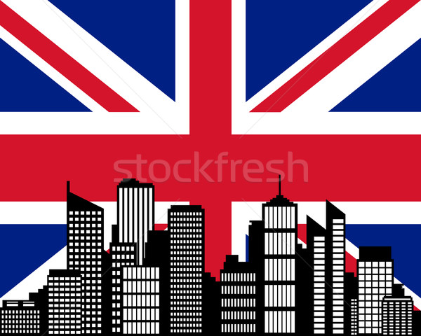 Miasta banderą wielka brytania budynku krajobraz miejskich Zdjęcia stock © rbiedermann