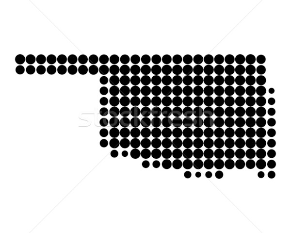 Kaart Oklahoma zwarte patroon amerika cirkel Stockfoto © rbiedermann