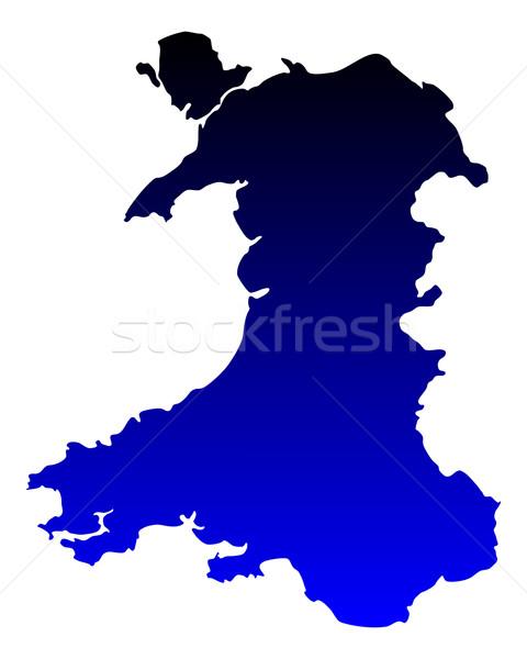 Mapa país de gales azul vetor isolado ilustração Foto stock © rbiedermann