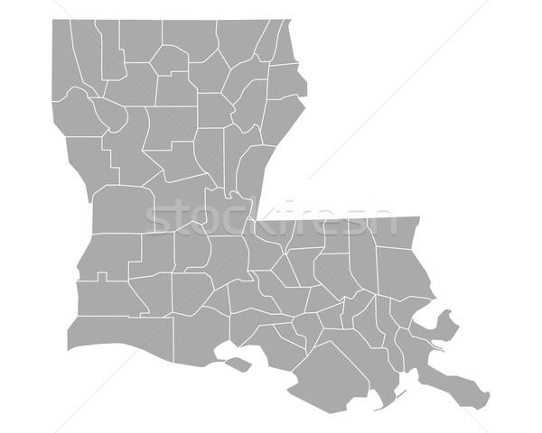Mappa Louisiana line vettore illustrazione grigio Foto d'archivio © rbiedermann