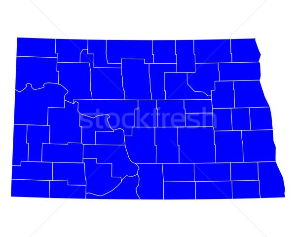 Harita Kuzey Dakota mavi ABD vektör yalıtılmış Stok fotoğraf © rbiedermann