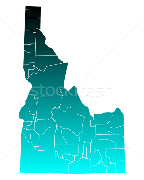Mapa Idaho verde azul viajar EUA Foto stock © rbiedermann