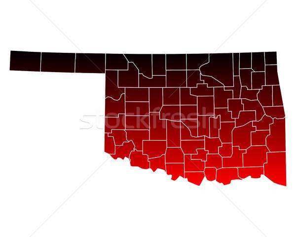 Kaart Oklahoma reizen Rood USA geïsoleerd Stockfoto © rbiedermann