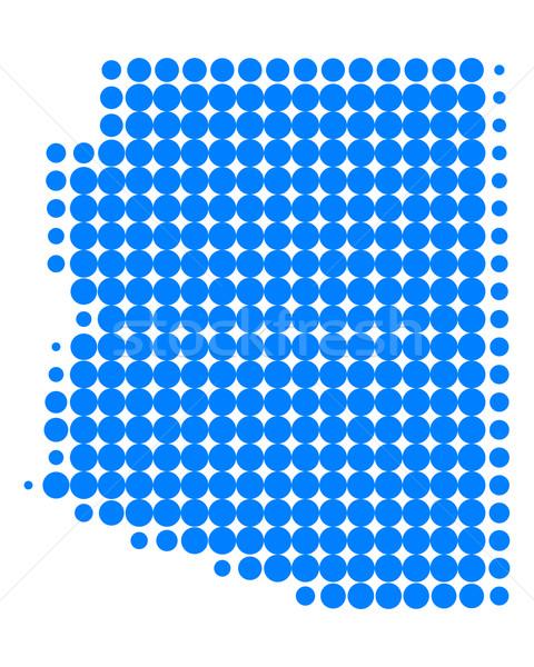 Kaart Arizona Blauw patroon amerika cirkel Stockfoto © rbiedermann