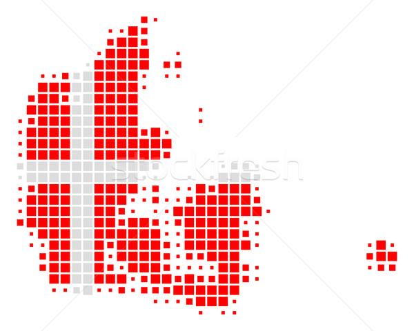 Kaart vlag Denemarken witte patroon banner Stockfoto © rbiedermann