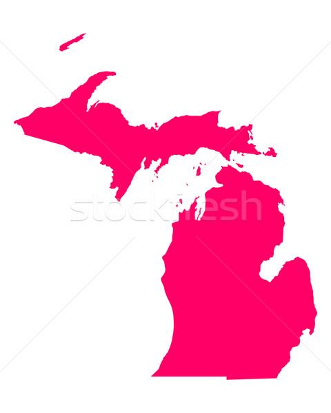 Carte Michigan Voyage Amérique pourpre isolé Photo stock © rbiedermann